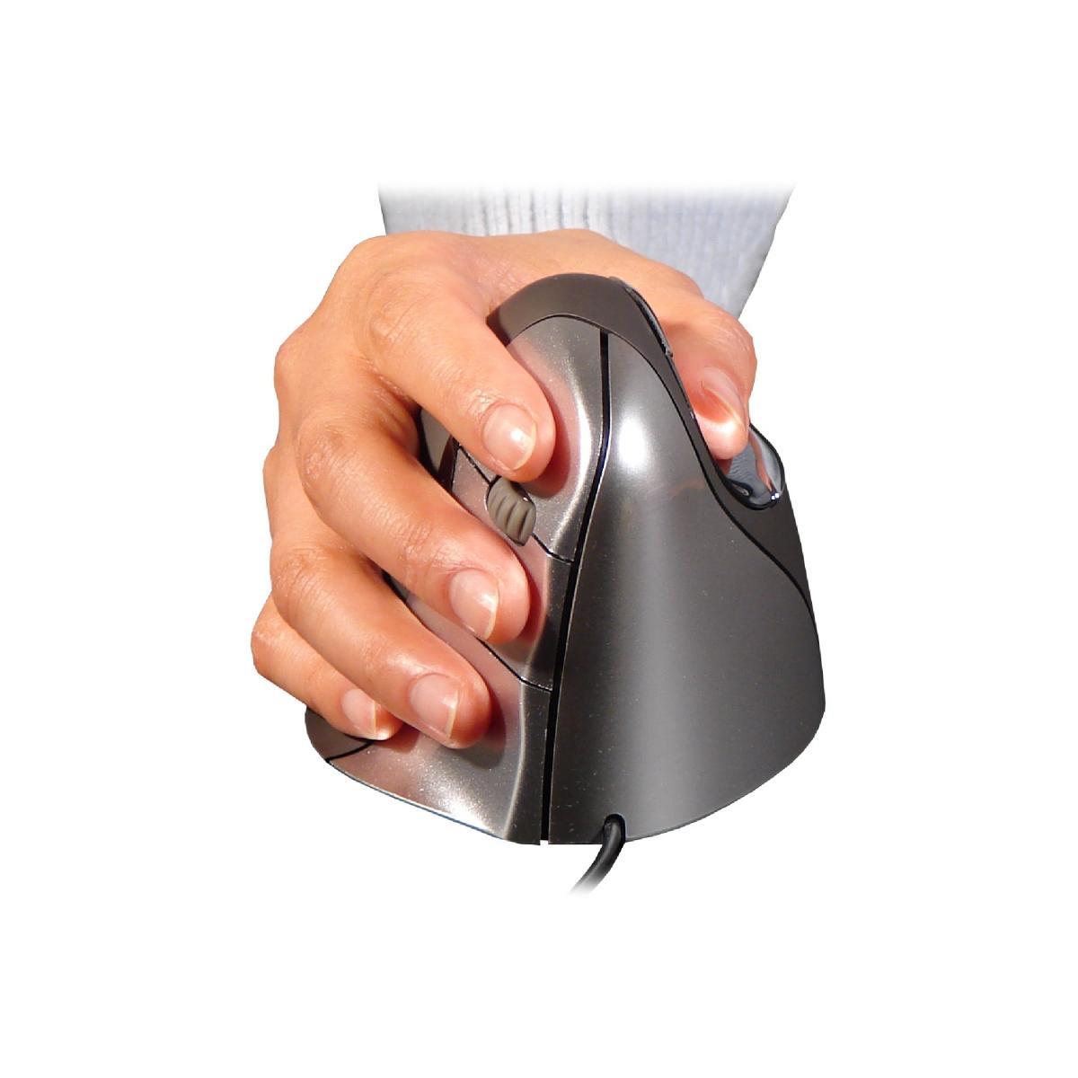 Zwarte, ergonomische muis voor rechtshandigen, de Evoluent 4 van BakkerElkhuizen