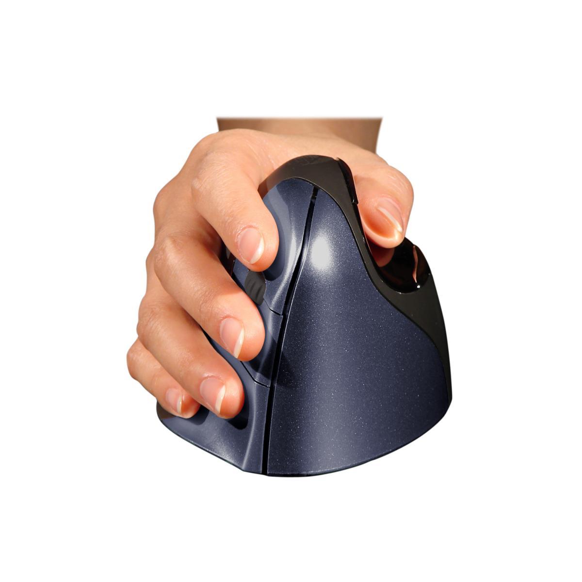 Zwarte, draadloze, ergonomische muis van BakkerElkhuizen, de Evoluent 4