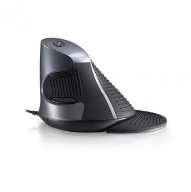 Zwarte, ergonomische, verticale muis van Delux: de Grip