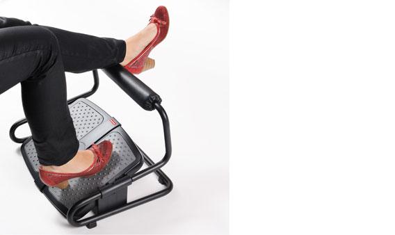Zwarte, verstelbare voetensteun van Ergonomique: de ErgoStretch