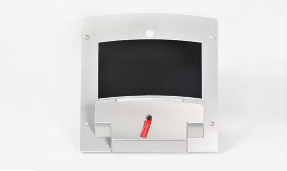 Metalen, inklapbare laptopstandaard van Ergonomique, de ErgoSummit