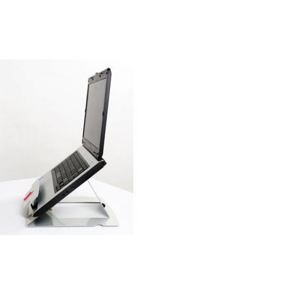Ergonomische werkplekverbeteraar voor laptops, met standaard, toestenbord en lasermuis. De ErgoSummit 3in1 oplossing van Ergonomique