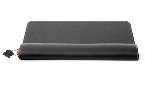 Zwarte, leren, ergonomische polssteun voor toetsenbord: de ErgoPols Deluxe van Ergonomique