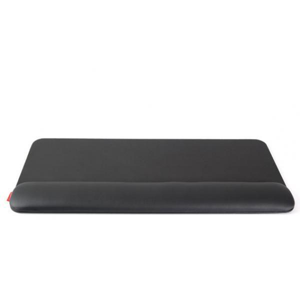 Zwarte, leren, ergonomische polssteun voor toetsenbord en muis: de ErgoPols Plus Classic van Ergonomique