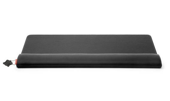 Zwarte, leren ergonomische polssteun voor toetsenbord en muis: de ErgoPols Plus Deluxe van Ergonomique
