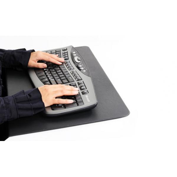 Zwarte, leren bureausteun en -verbreder.