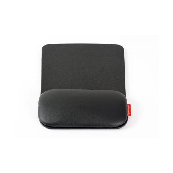Zwarte, leren, ergonomische muismat: de ErgoPad Touch van Ergonomique