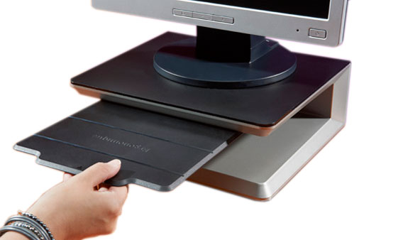 Ergonomische monitorstandaard voor op het bureau, met geïntegreerd documentvlak