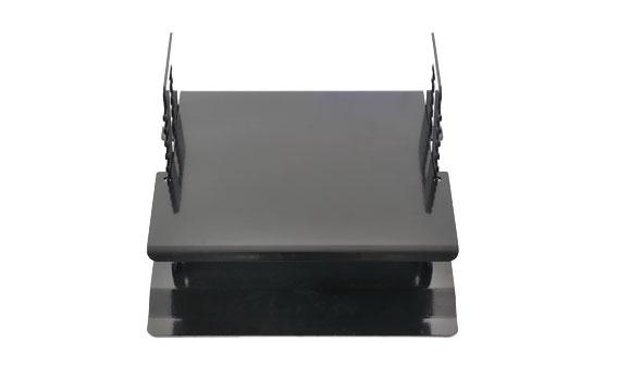 Zwarte, in hoogte verstelbare monitorstandaard van Ergonomique; de ErgoStairs