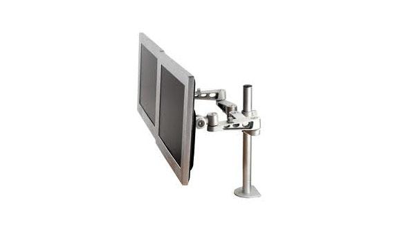 Zilveren, in hoogte verstelbare monitorstandaard voor 2 beeldschermen