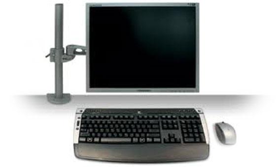 Zilveren, in hoogte verstelbare monitorstandaard voor 1 beeldscherm