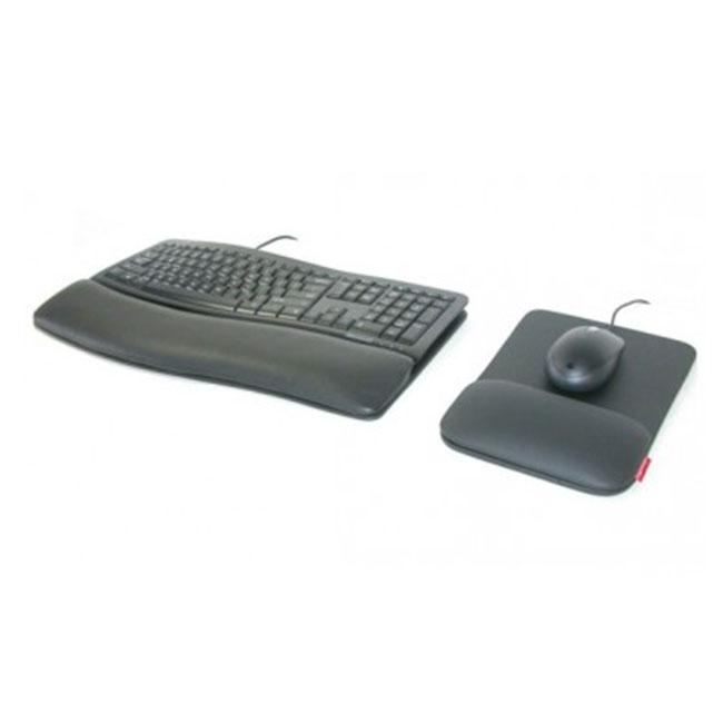 Vooraanzicht van het Microsoft Ergotouch Wave ergonomisch toetsenbord en muis