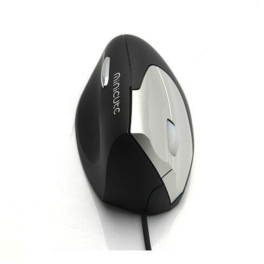 Zwart/zilveren, ergonomische, verticale muis voor linkshandigen: de EZmouse 2 van Minicute