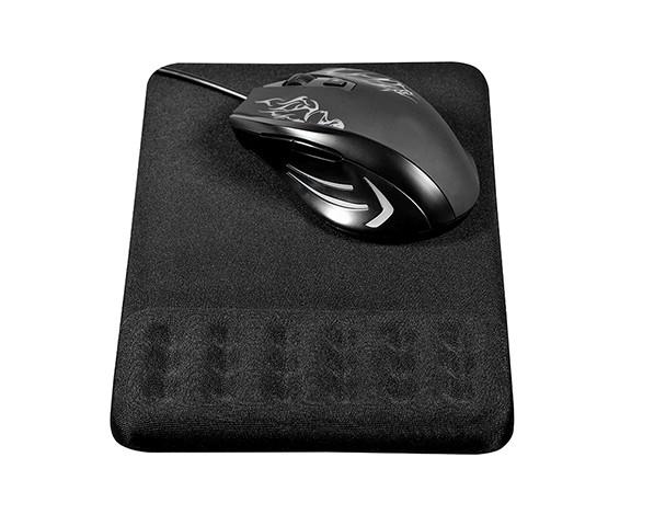 Zwarte, ergonomische muismat met polssteun: de Compact van Spire