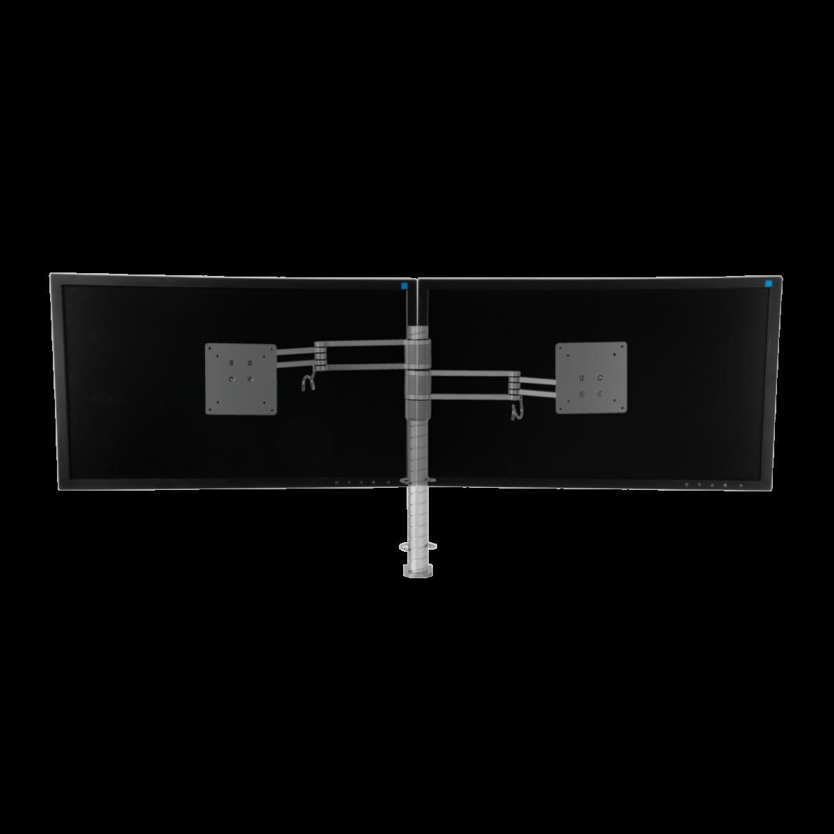 Zilveren, verstelbare monitorarm voor 2 beeldschermen