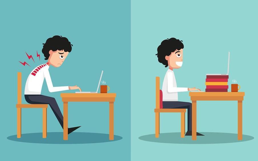 Tekening dat verschil aangeeft tussen werken zonder en met een verhoogd beeldscherm