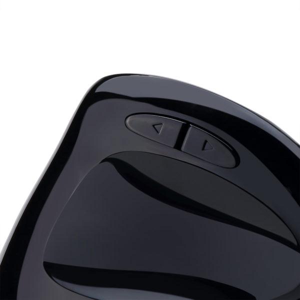 knoppen van de Spire Archer 9 zwarte ergonomische muis voor inkshandigen.