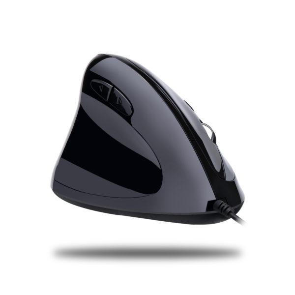 Achterkant van de Spire Archer 9 zwarte ergonomische muis voor inkshandigen.