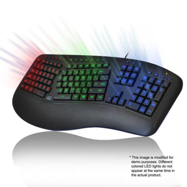 Kleurverlicht ergonomisch toetsenbord